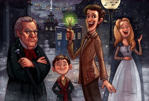 "fedorasarecool:  doctorwho:   Doctor Who Christmas Carol  (by Dani Jones) ""This is a piece of fan art I made based on last year's Doctor Who Christmas special, A Christmas Carol. I love this episode! It has quickly become one of my favorite things to watch around the holidays. I recently re-watched it, and I might have to do so again before the season is over. It is brilliant. Thanks Steven Moffat.""  She has a video of how she made this in Photoshop. Go read the rest at danidraws.com  Of course I must reblog this. This is one of my absolute favourite episodes ever. <3  One of the first episodes I saw of Doctor Who ^^"