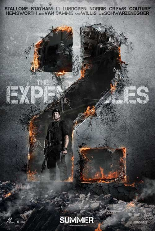 The Expendables 2 gets a poster The first official poster for The Expendables 2 has landed online.Unlike the teaser trailer, which showcases every member of its beefcake cast, the poster keeps it simple with Sylvester Stallone's Barney Ross blowing a massive 2-shaped hole in some kind of wall…