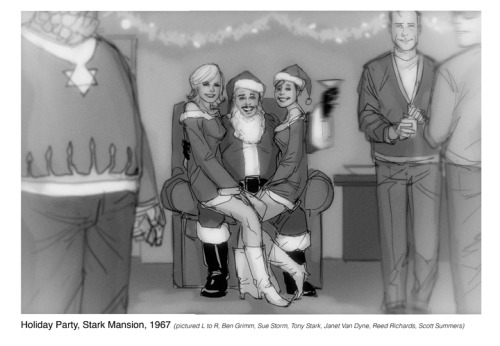 philnoto:  From the Hank Pym Photo Archives- Holiday Party, Stark Mansion, 1967  I love the look on Tony Santa's face. Amazing.