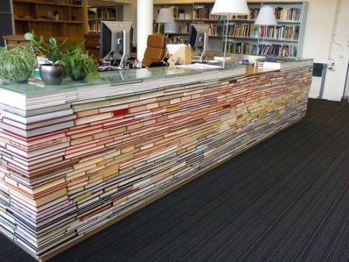 museumofusefulthings:  Saw this here. Books repurposed as library counter.     My Girlfriend will love this!