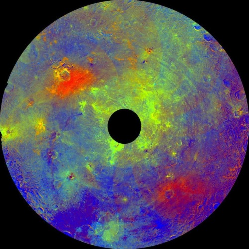 Scientists used color data obtained by the Dawn spacecraft to show the asteroid Vesta's southern hemisphere in color. Vesta is the second-most massive object in the asteroid belt between Mars and Jupiter.  (PHOTO: NASA/JPL-CALTECH/UCLA/MPS/DLR/IDA)