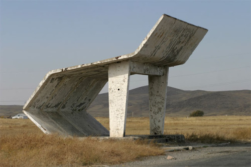 howbouthat:  Soviet bus stop. Click the picture to see more.