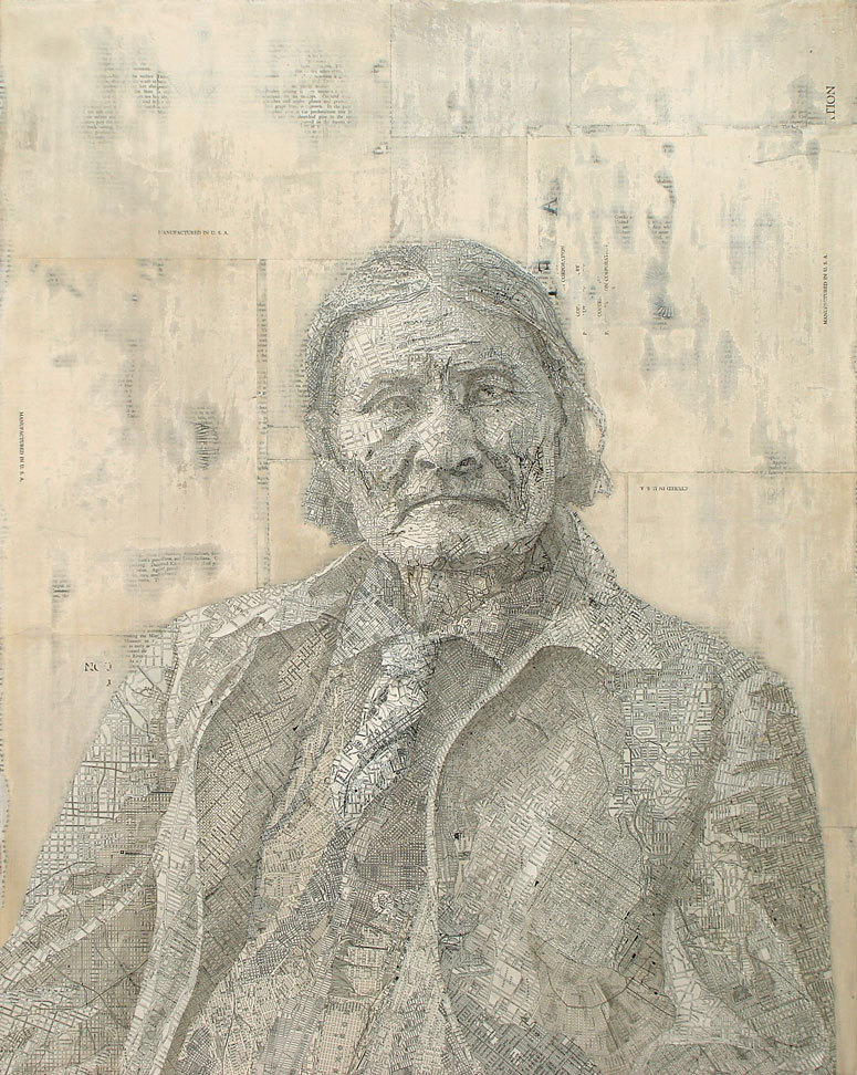 Matthew Cusick - Illustration made out of street maps - Geronimo, 2007