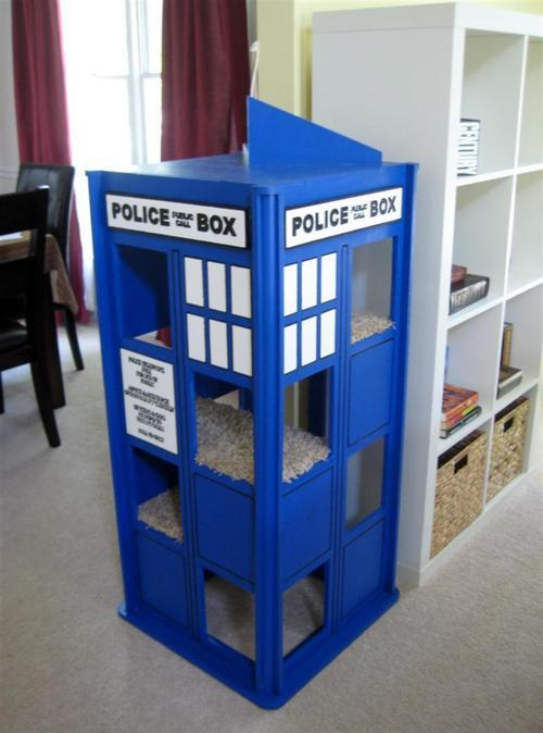 whocrafts:  Doctor Who TARDIS cat condo.  I am seriously considering making this for my cat.