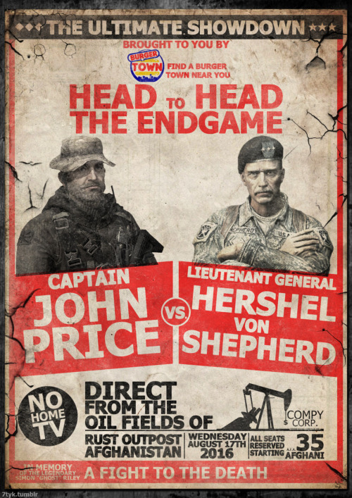 7tyk:  Capt John Price vs Lieutenant General Shepherd Retro Boxing Poster