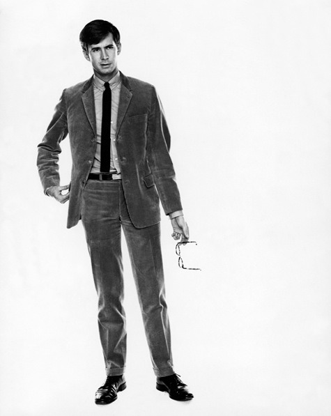 gqfashion:  From the GQ Archives Anthony Perkins in GQ, December 1967. This photo's strength is its timelessness; save for a few minor details it could have been taken yesterday. The perfectly cropped, cuffed trousers, corduroy suit, knit tie, and low profile collar are all worthwhile additions to any man's closet, now and for the foreseeable future… you know, until we're wearing spacesuits. More style inspiration here.   Side Note: Anthony Perkins was pretty goodlooking….