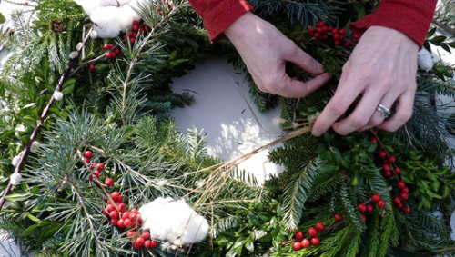 mothernaturenetwork:  How to make your own wreathCreate a natural holiday look with berries and colorful foliage from your garden.