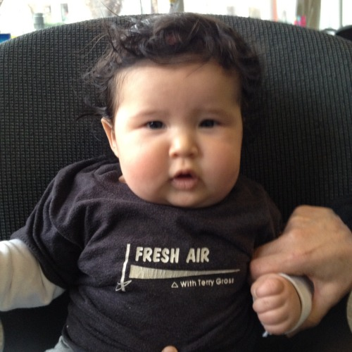 The newest member of the Fresh Air family shows off her vintage Fresh Air 80s t-shirt. (No they don't make these anymore. Yes, I wish they did.)