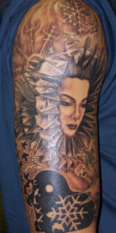 fuckyeahtattoos:  1st session on a Bjork inspired half sleeve. Done by Jonathon Hardister, Marks of Distinction. Wilmington, NC.