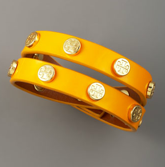 Tory Burch Logo-Studded Bracelet, Yellow $95.00 (16 karat gold)