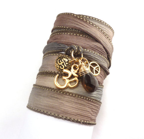 Silk Wrap Bracelet with Om Charms, Peace Sign and Smoky Quartz $35.00