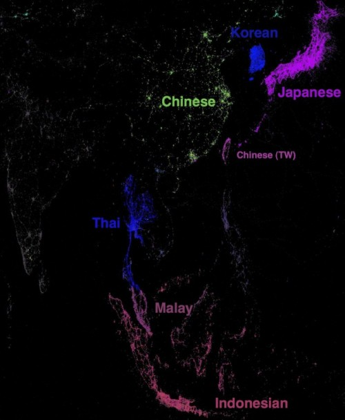 "geocrusader80:  Twitter Language Visualization Part 2: Southeast Asia. These language maps are visually awesome @PennOlson http://www.penn-olson.com/2011/11/07/twitter-asia-map/ ""It shows all the languages being used on Twitter an a single, multi-colored world map. As you can see, there are very dense patches for Japanese, Korean, and Indonesia. In China, where Twitter remains blocked, there are small patches of activity. Thai is well  represented too, as is Malay which is a little tough to see as the color  is a little hard to distinguish from Indonesian. On the left India  shows a lot of dark grey which is the color chosen for English. The country labels were added by us here at Penn Olson, and not by the original creator."" by Rick Martin"