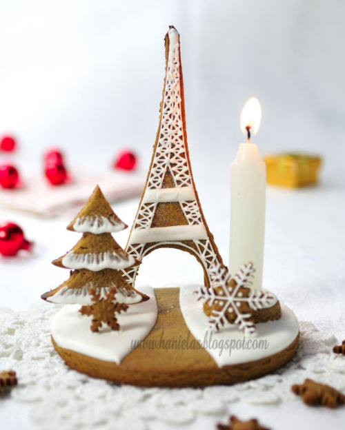 "truebluemeandyou:  DIY Eiffel Tower Gingerbread Centerpiece.  Making gingerbread structures is fun and rewarding (I've made cottages to huge castles). Tutorial at Haniela's here.   *NOTE: do not use raw egg whites for this. I have always used meringue powder (commonly available) and if you've ever had salmonella food poisoning you'll know why. When in doubt google ""royal icing egg white substitute"" because you never know when a child (or adult) will eat your creation."