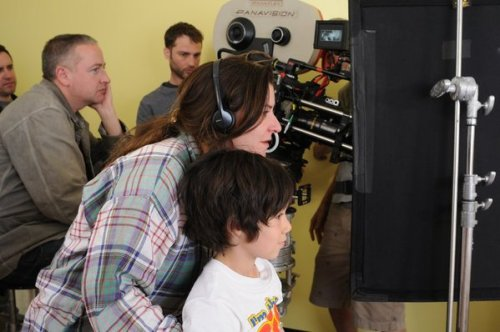 cinemastatic:  Lynne Ramsay with Jasper Newell (Kevin age 6-8) on the set of We Need to Talk About Kevin