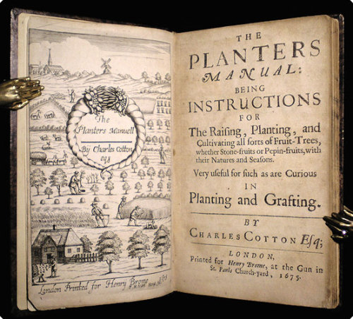 "The Planters Manual: Being instructions for the raising, planting, and cultivating all sorts of fruit-trees, whether stone-fruits or pepin-fruits, with their natures and seasons.   Cotton, Charles.  London: Henry Brome, 1675.   8vo (16.3 cm, 6.4""). Add. engr. t.-p., [6], 139, [5 (4 adv.)] pp.  First edition of this first English translation of Robert Triquet's classic treatise on stone and pome fruits, including lists of varietals, their uses, and how best to grow them — including grafting and espaliering techniques. The author, a poet as well as an ardent outdoorsman and naturalist, may be best remembered for his friendship with Izaak Walton, to whose Compleat Angler he added a second part. Here, interestingly, he prefaces this translation from the French with a diatribe against the ""effeminate manners, luxurious kickshaws, and fantastick fashions"" (p. [5]) making their way into England from France.  The added engraved title-page is signed ""F.H. Van Houe fecit,"" marking this as the earlier state of the engraving.  •  ESTC R18563; Wing (rev. ed.) C6388.   Full period-style Cambridge mottled calf, covers framed and panelled in blind fillets and dotted rolls with blind-tooled corner fleurons, board edges with gilt roll, spine with gilt-stamped title, etc., and spine compartments gilt extra. All edges marbled. Pages mildly cockled and gently age-toned, otherwise clean. A very attractive copy, and a nice snapshot of period pomology.  (30099)"