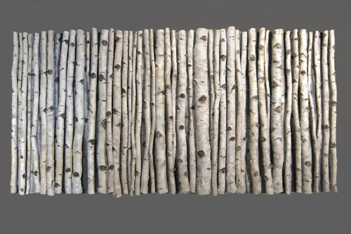 "ceramicsnow:  Kathy Pallie: Out of the Woods. Earthenware, acrylic cold finish, 48""H x 96""L x 7""D, 2009"