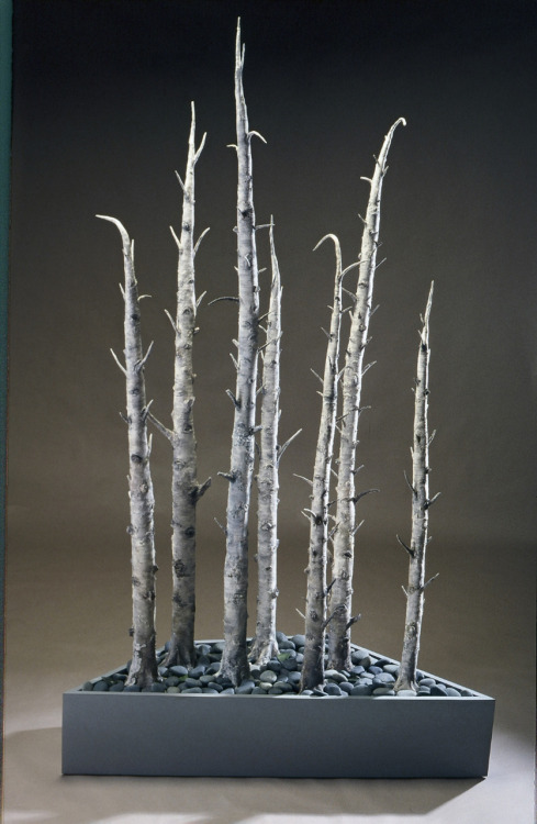 "Kathy Pallie: Stand of Birches. Earthenware, acrylic cold finish, wood base, rocks, 88""H x 54""L x 15""D, 2007"