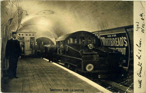 Twopenny Tube - Locomotive. Postcard, 1903. Publisher: Giesen Bros. & Co. Source: Oxford University Library - Toyota City Imaging Project