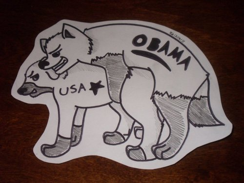 "naked-in-eden:  sociallyunacceptableart:  ""Obama is screwing America over.""Just thought up this idea for a political cartoon, I like it xDIts based off of my thought/quote thing.I hope you all like it! I know I do NOTE: Please no flaming. If you support Obama, fine. I could care less. Just dont rant on it please. Your comment will be removed.  I like Obama but this is fucking hilarious. Look at this. Look at this political cartoon. It's beautiful.  This person is right. Obama is screwing over the USA. He's screwing up everything America is made up of: The American Dream. He's screwing up the idea that a woman's single purpose is to find a husband, pop kids out, and be a stay at home mom.  He's advocating her being an independent woman, getting an abortion if she wants one, and getting equal pay at work.  He's screwing up the American view of marriage being just for a man and a woman, too! He's going to let lesbians and gays wed! He's screwing up the easy way the American government can come in and control what you look at on the Interent. He's screwing up our holy educational and health system by wanting to distribute it to everyone!!! If Obama is allowed to continue fucking America like this, then there is a chance he could even screw up the numbers of American's who suffer from mental health problems! Due to his messed up ways, that number of 57.7 million people could lower!! If women's rights are accepted, if gays are allowed to get married, and if everyone can attain health care, then people in America may not feel the need to commit suicide so much. HOW DARE that man screw this all up!"