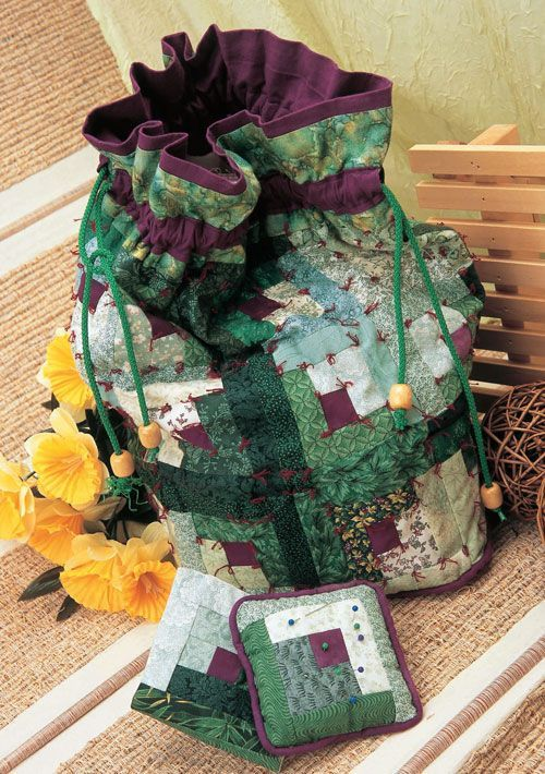 cute drawstring patchwork bag