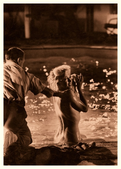 "Marilyn Monroe on the set of ""Something's Got To Give"" Rare picture taken on May 28th (1962) during the filming of the infamous pool scene."