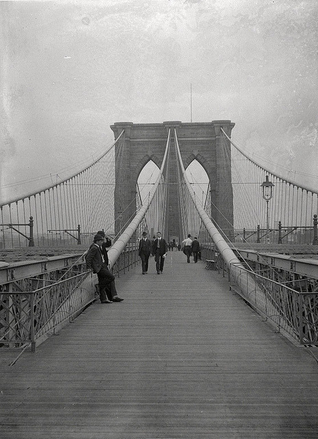 scentnoodle:  Brooklyn Bridge, Looking East, New York City Side, July 7, 1899. by Brooklyn Museum