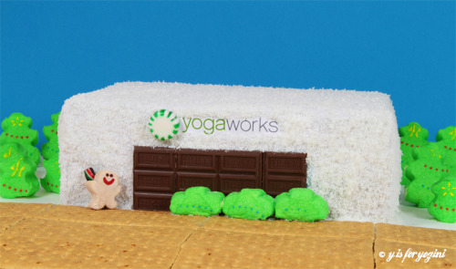 December makes me giddy, so I crafted a yoga studio out of cake and candy.