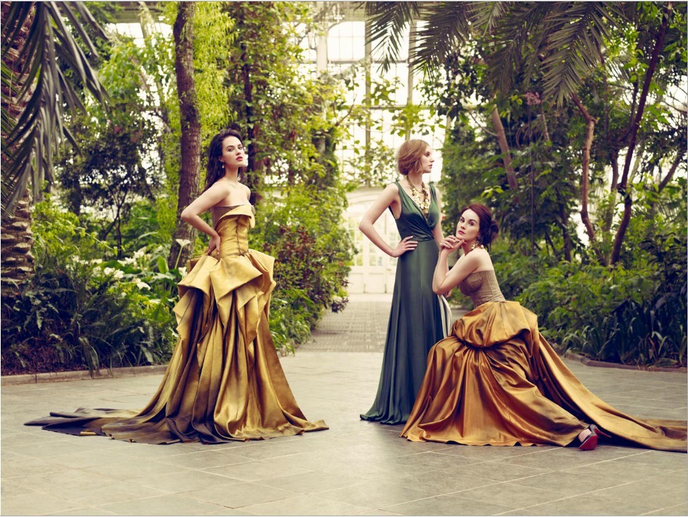 Jessica Brown-Findlay, Laura Carmichael and Michelle Dockery photographed by Jason Bell for Vogue UK, August 2011