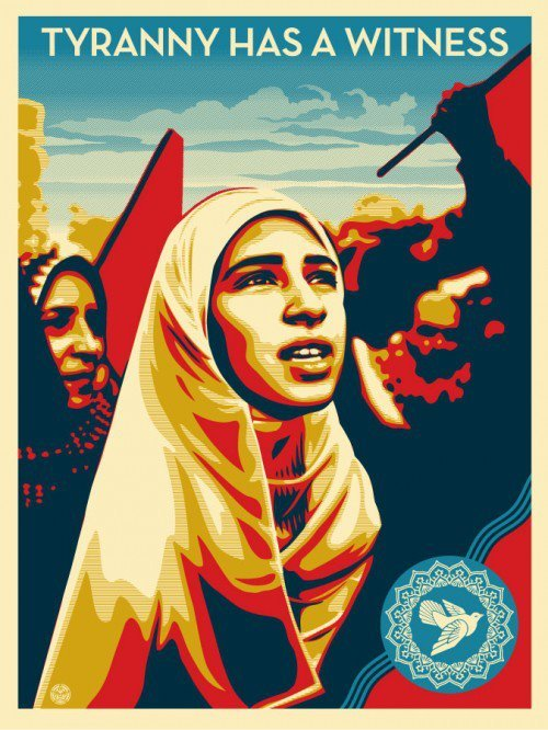"This new print from Shepard Fairey dropped this week… ""I believe in using my art to advocate for human rights, so working with Human Rights Watch to further their goals is an honor and ideal collaboration for me. I'm very excited about this image because I feel it promotes the idea that a few courageous people can stand up for what they think is right, and soon others will join them. There is power in every small action and cumulative power in numbers. ""TYRANNY HAS A WITNESS"" showcases the hope and determination needed to fight injustice and oppression."" – Shepard Tyranny Has a Witness: http://bitly.com/OGtyranny"