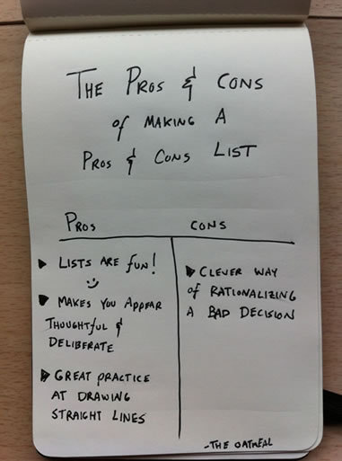 The pros and cons of making a pros and cons list (via The pros and cons of making a pros and cons list - The Oatmeal)