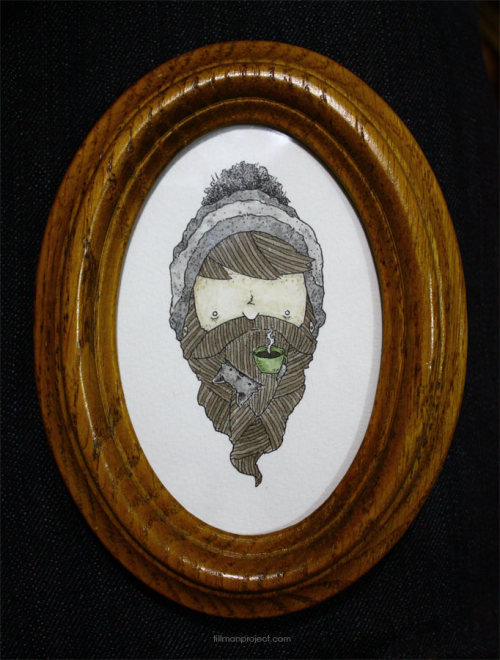 """beard-kitten: espresso"" (pen/watercolor/thrift shop frame)"