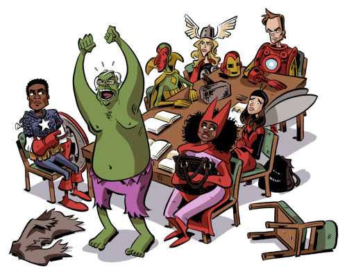 athousandheartsattack:  Chris Schweizer draws the Community cast as Marvel comic's The Avengers. It's not Community back on NBC every Thursday night forever, but it's also not nothing. (Btw, no clue why the font is so big, sorry about that…)  Also Community is awesome and I have been watching two episodes a day for the past 2 weeks.
