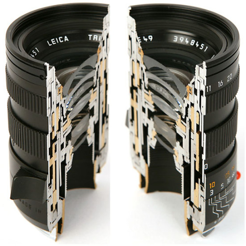 inspirarch:  This cross section view of a Leica lens informs as to why camera lenses are just so expensive… See the set and even buy a cutaway here