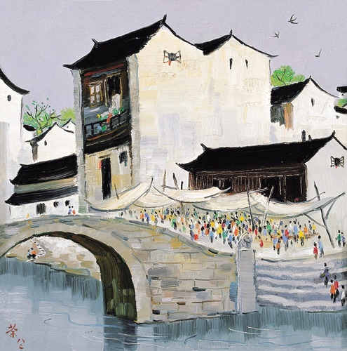 吴冠中-水乡 by China Online Museum - Chinese Art Galleries on Flickr.