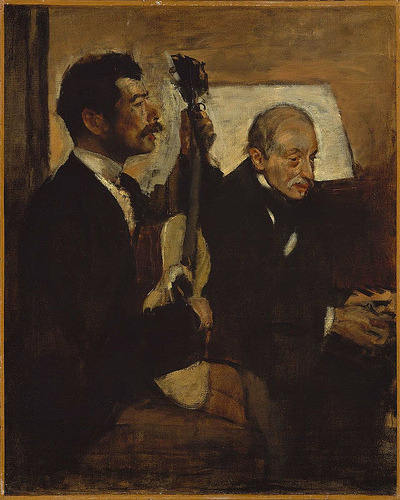 jerzee55:  Edgar Degas - Degas' Father Listening to Lorenzo Pagans Playing the Guitar [c.1869-72]