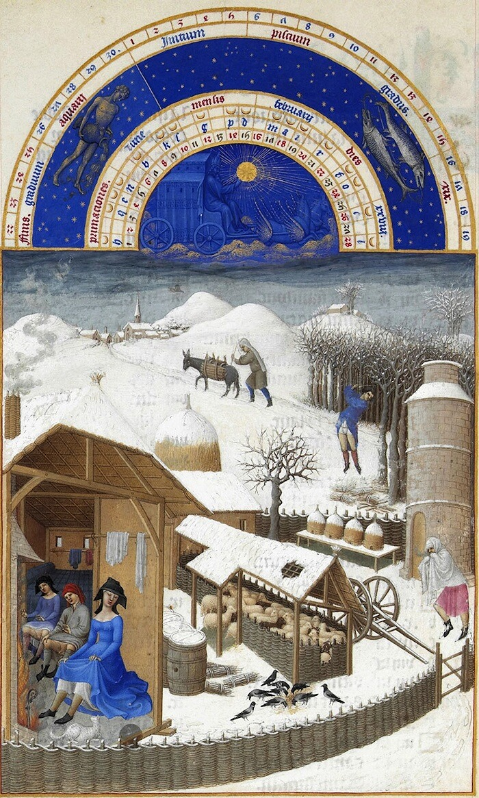 Les très riches Heures du duc de Berry: Février, folio 2 Musée Condé, Chantilly, France A priori, le tout premier paysage de neige de l'histoire de l'art! A priori, the first snow scene in the history of art!
