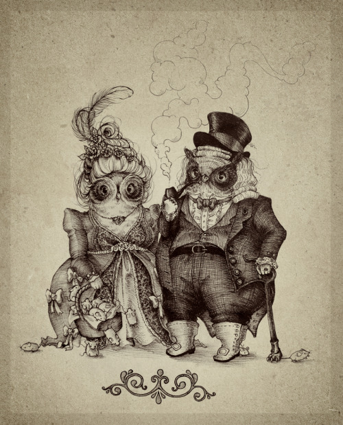 bittersweetart:  Mister Owl And The Owl Lady by Teagan White (tumblr)