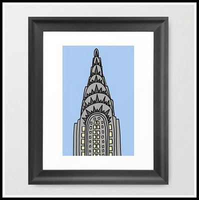 The Chrysler Building Would Look All Wrong in Nappa Framed Print, $34, Illustrated By Jenny (via Lovely At Your Side: Gift Guide: New York City Themed Gifts!)