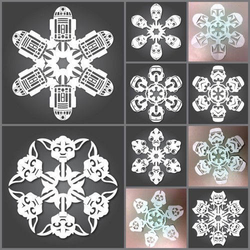truebluemeandyou:  DIY Star Wars Snowflakes. 11 in all (I left out Ahsoka). PDF Downloads for each snowflake at Matters of Gray here.