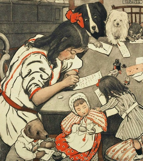 Wuanita Smith Girl and Friends Writing Letters, illustration for The Christmas Letter  1905–07