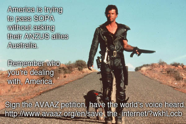 Sign the AVAAZ petition which will accept anybody's signature, even though US senators don't care whose nation they're inconveniencing with this: http://www.avaaz.org/en/save_the_internet/?wkhLocb