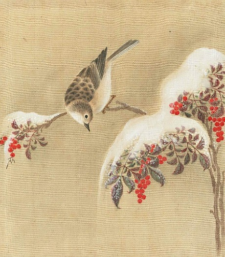Unknown (Japanese)  Bunting and Snow-Covered Nandina  19th century