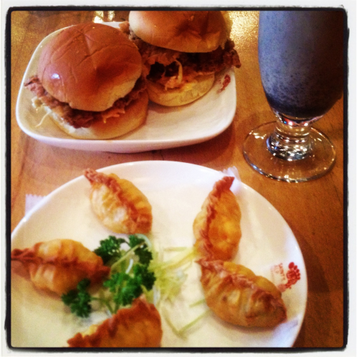 Chicken sliders, shrimp dumplings & black sesame milk tea @ Saint's Alp Teahouse, Williamsburg BK