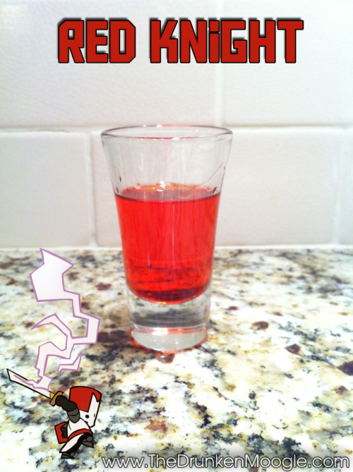 Red Knight (Castle Crashers shot) Ingredients:1 oz orange vodka1/2 oz grenadine Directions: Mix ingredients in a shot glass and drink.Drink created and photographed by The Drunken Moogle. Other Castle Crashers shots:Orange KnightGreen Knight Blue Knight