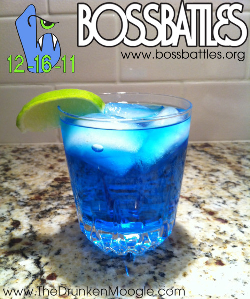 Boss Battles CocktailIngredients:3/4 oz blue curacao1 1/2 oz blueberry vodkaAround 3 oz Sprite (fill glass)1 lime wedgeDirections: Mix alcoholic ingredients and pour in a rocks glass over ice.  Fill with Sprite and garnish with a lime wedge. This drink combines lemon/lime citrus flavors with a nice blueberry kick.Drink created and photographed by The Drunken Moogle for BossBattles.org's Child's Play Charity Marathon.  The guys at Boss Battles raised over $1,500! If you didn't catch the livestream, you missed out.