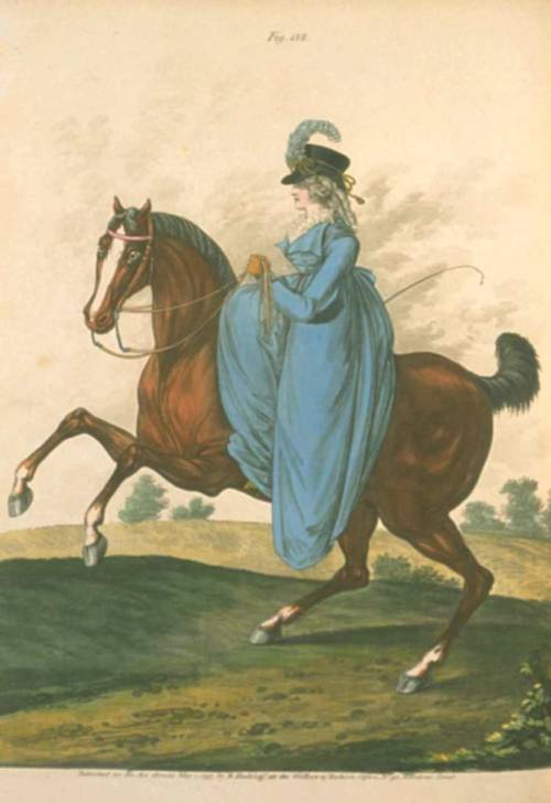 Gallery of Fashion, May 1797.  Hi there, beautiful!  I would push you off that horse if it meant I could get your riding habit!