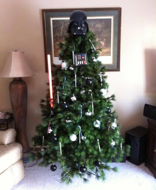Darth Vader likes to dress up like a Christmas tree sometimes. via Fashionably Geek