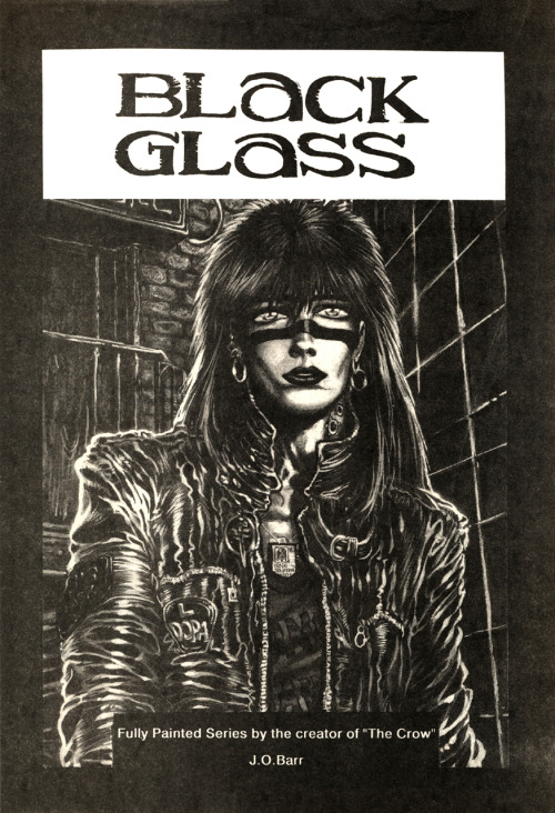 Promotional ad for the unpublished Black Glass by James O'Barr, 1990.