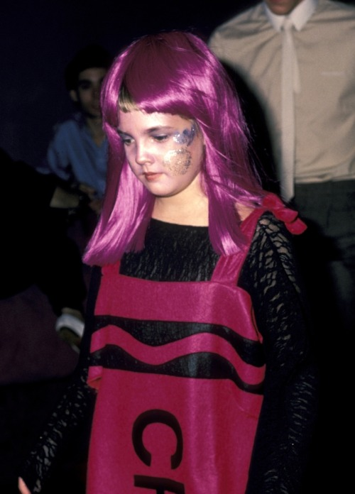 Drew Barrymore dressed as a crayon, and heading to a night club on Halloween night. Mid 80's