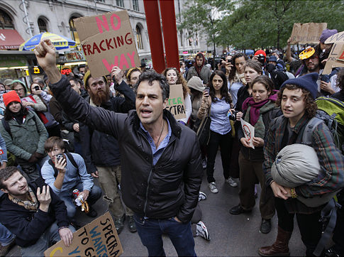 Who's Who of the Occupy Movement: Mark Ruffalo, activist & actor Mark Ruffalo isn't merely expressing support for OWS; he's showing it. Between tweeting straight from Zuccotti Park to protesting the Keystone XL Pipeline, his involvement has been greatly environmentally-focused. His anti-fracking, pro-solar energy sentiments have unveiled how corruption & corporate interest in our government have destroyed our environment.  Now, more climate change, oil drilling & energy issues have come to the forefront of Occupy discussions. Not only have corporate politics nearly diminished the American middle class, but it has destroyed land, air & water.  Watch Ruffalo talk climate change at Zuccotti & explain the goals of OWS.  -G.Razo